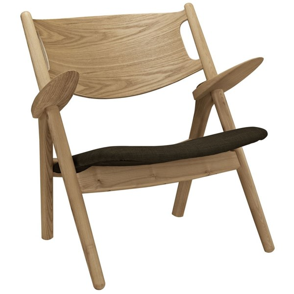 Concise Modern Natural Brown Fabric Wood Lounge Chair EEI-1445-NAT-BRN