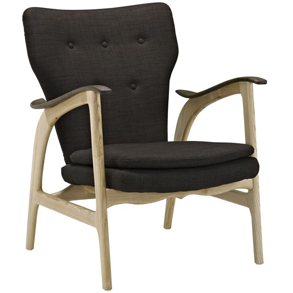 Concise Natural Brown Fabric Solid Wood Lounge Chair EEI-1446-NAT-BRN