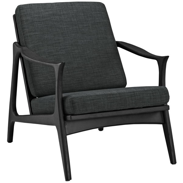 Pace Modern Black Gray Fabric Solid Wood Armchair EEI-1447-BLK-GRY