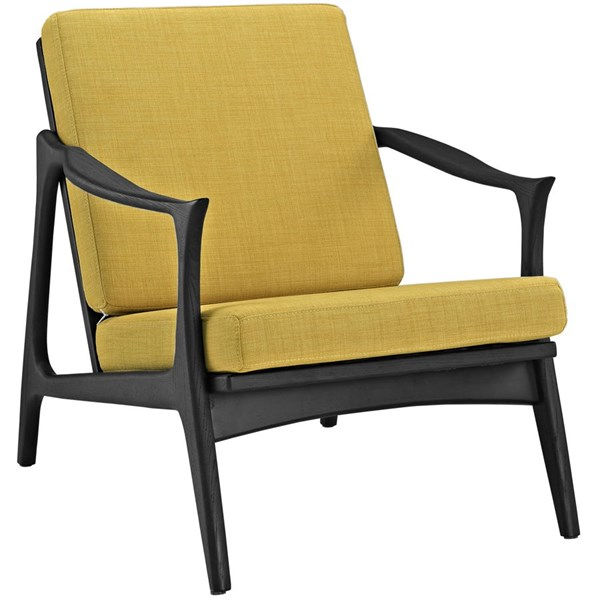 Pace Modern Black Yellow Fabric Solid Wood Armchair EEI-1447-BLK-YLW