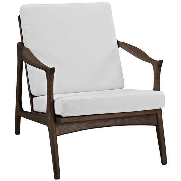 Pace Modern Walnut White Fabric Solid Wood Armchair EEI-1447-WAL-WHI