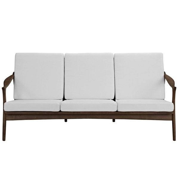 Pace Modern Walnut White Fabric Solid Wood Upholstered Sofa EEI-1448-WAL-WHI