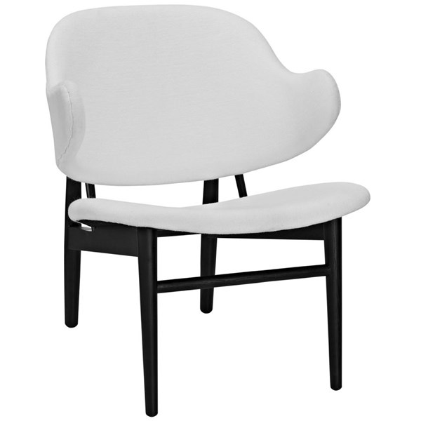 Suffuse Modern Black White Fabric Solid Wood Lounge Chair EEI-1449-BLK-WHI