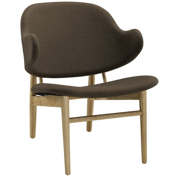 Suffuse Modern Natural Brown Fabric Solid Wood Lounge Chair EEI-1449-NAT-BRN