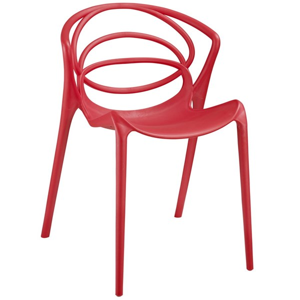 Locus Modern Red PP Plastic Dining Side Chair EEI-1451-RED
