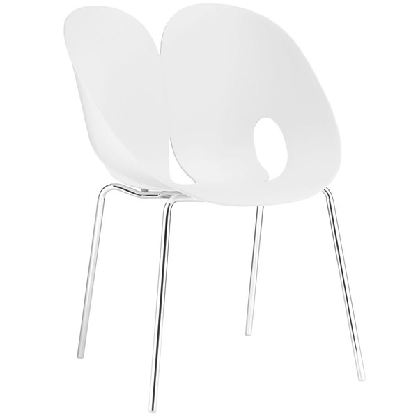 Envelope Contemporary White PP Steel Dining Side Chair EEI-1452-WHI