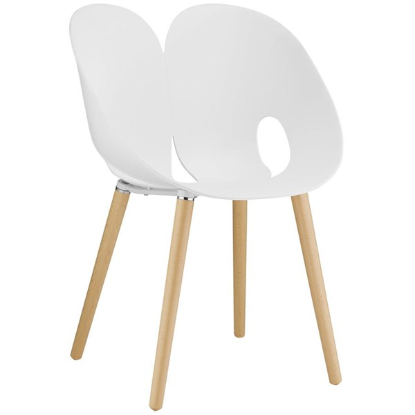 Envelope Contemporary White PP Wood Dining Side Chair EEI-1453-WHI