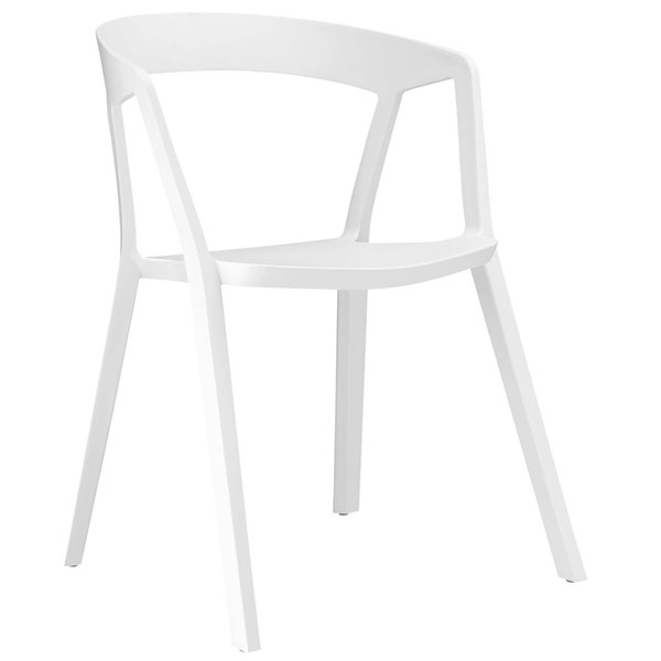 Tread Modern White PP Plastic Dining Armchair EEI-1454-WHI