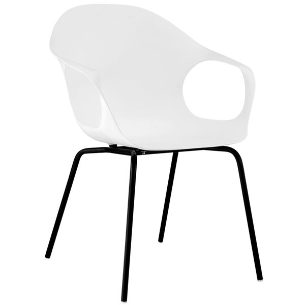 Swerve Modern White PP Plastic Steel Dining Armchair EEI-1455-WHI