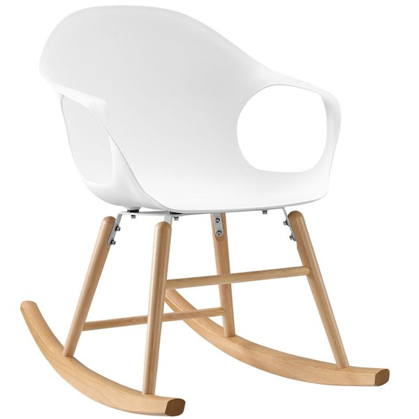 Swerve Modern White PP Steel Solid Wood Rocking Chair EEI-1456-WHI
