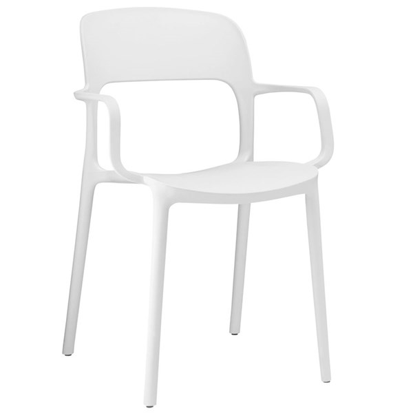 Hop Modern White PP Solid Seat Dining Armchair EEI-1457-WHI