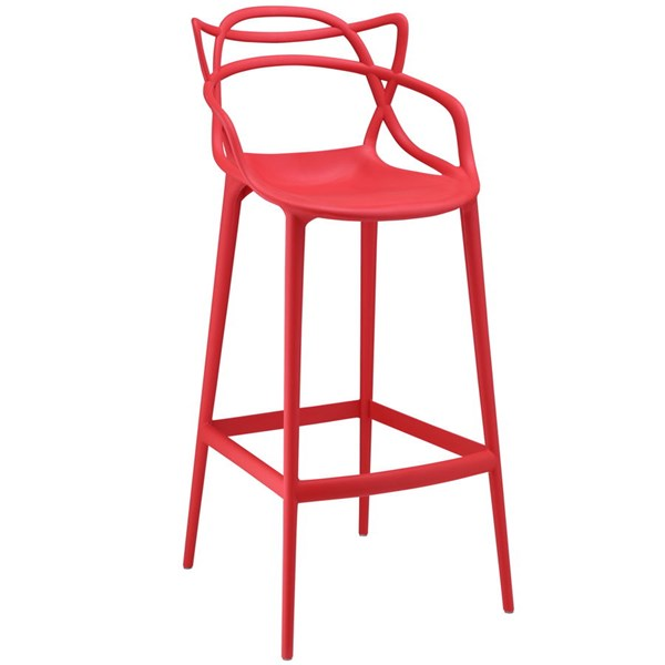 Entangled Modern Red PP Plastic Solid Seat Bar Stool EEI-1460-RED
