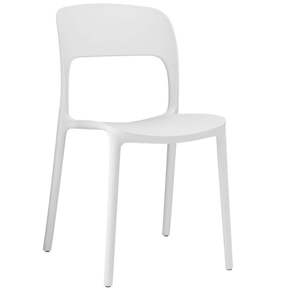Hop Modern White PP Solid Seat Dining Side Chair EEI-1461-WHI