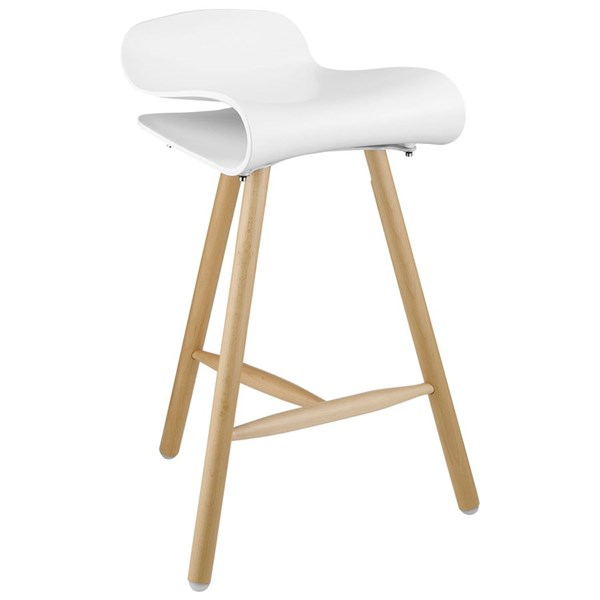 Clip Modern White Solid Wood Steel Footrest Bar Stool EEI-1463-WHI