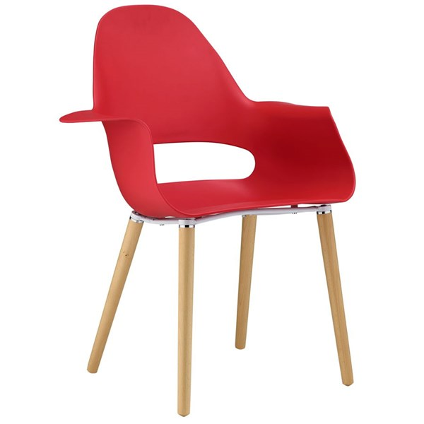 Soar Modern Red Wood Steel PP Dining Armchair EEI-1464-RED