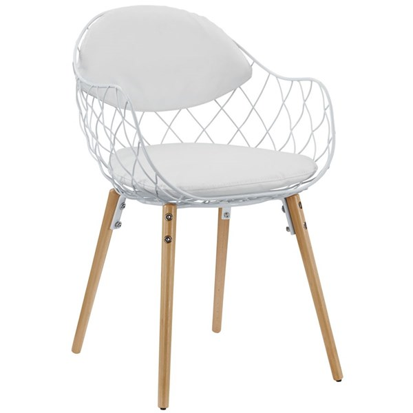 Basket Contemporary White PU Metal Dining Armchair EEI-1465-WHI-WHI