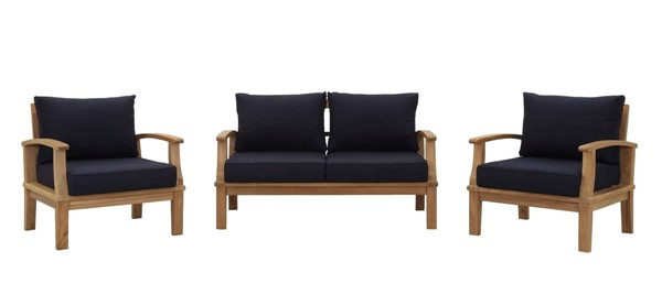 Modway Furniture Marina Navy Fabric 3pc Outdoor Teak Set EEI-1470-NAT-NAV-SET