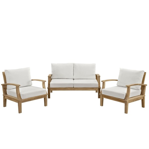 Modway Furniture Marina White Fabric 3pc Outdoor Teak Set EEI-1470-NAT-WHI-SET