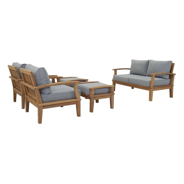 Modway Furniture Marina Gray Fabric 5pc Outdoor Patio Teak Sets EEI-1472-NAT-OTS-SET-VAR