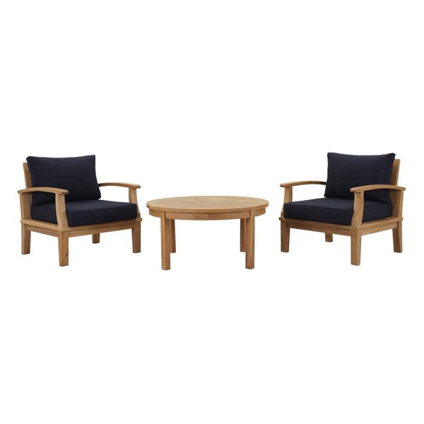 Modway Furniture Marina Navy 3pc Outdoor Patio Teak Set EEI-1475-NAT-NAV-SET