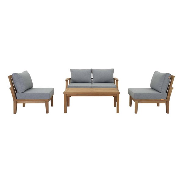 Modway Furniture Marina Gray 5pc Outdoor Patio Teak Set EEI-1477-NAT-GRY-SET