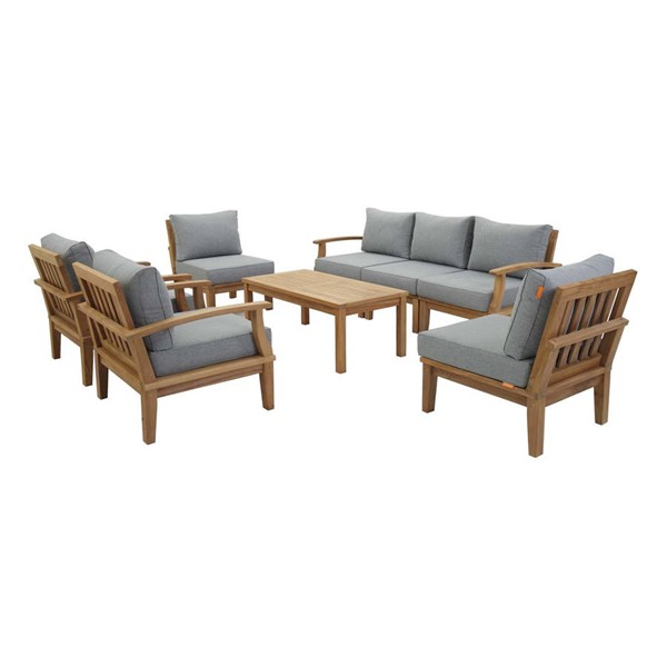 Modway Furniture Marina Gray 8pc Outdoor Patio Teak Sets EEI-1479-NAT-OTS-SET-VAR