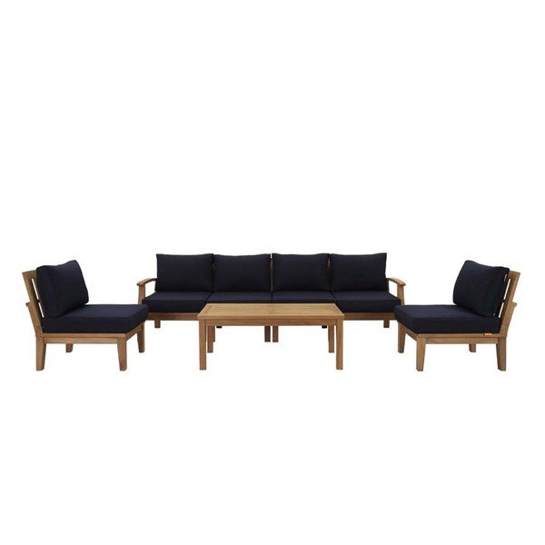 Modway Furniture Marina Navy Fabric 7pc Outdoor Patio Teak Set EEI-1481-NAT-NAV-SET