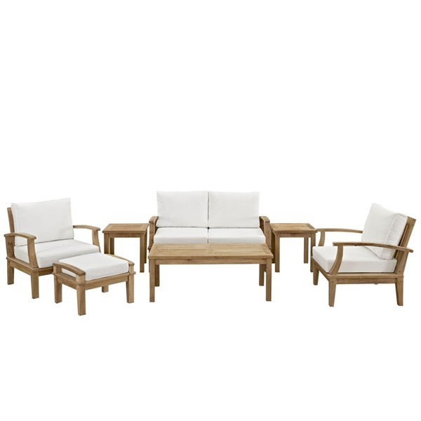 Marina Natural White Wood 7pc Outdoor Patio Sofa Set EEI-1486-NAT-WHI-SET