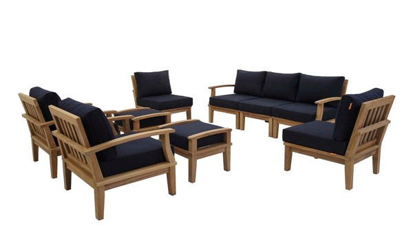 Modway Furniture Marina Navy 9pc Outdoor Patio Teak Set EEI-1488-NAT-NAV-SET