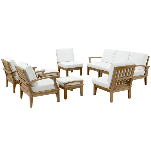 Marina Modern Natural White Wood 9pc Outdoor Patio Sofa Set EEI-1488-NAT-WHI-SET