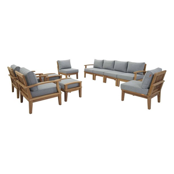 Modway Furniture Marina Gray 10pc Outdoor Patio Teak Sets EEI-1489-NAT-OTS-SET-VAR
