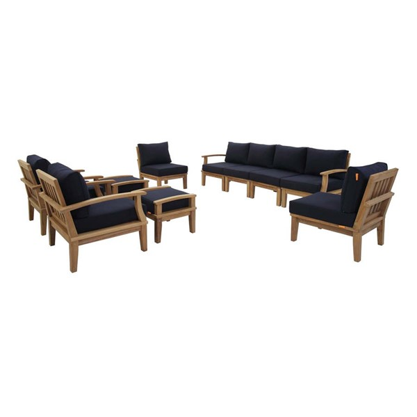Modway Furniture Marina Navy 10pc Outdoor Patio Teak Set EEI-1489-NAT-NAV-SET