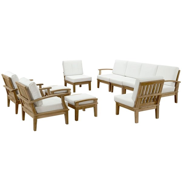 Modway Furniture Marina White 10pc Outdoor Patio Teak Set EEI-1489-NAT-WHI-SET