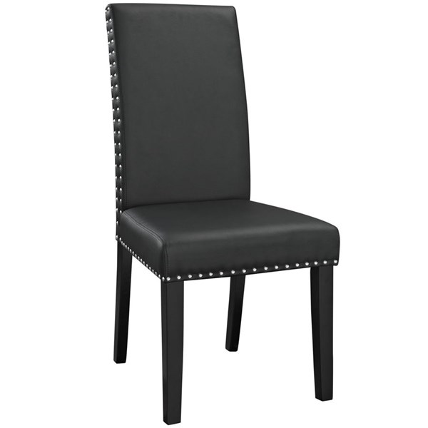 Parcel Modern Black Vinyl Wood Dining Side Chair EEI-1491-BLK