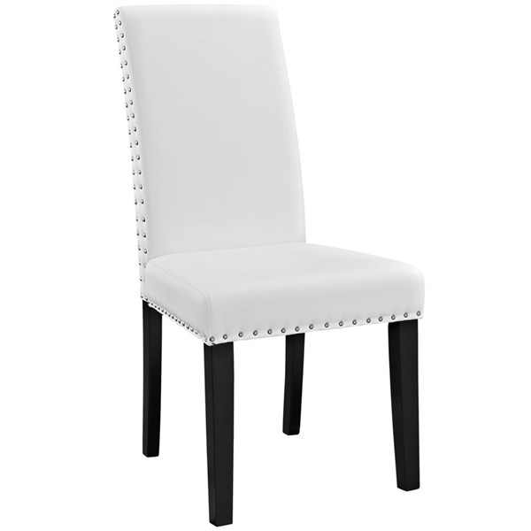 Parcel Modern White Vinyl Wood Dining Side Chair EEI-1491-WHI