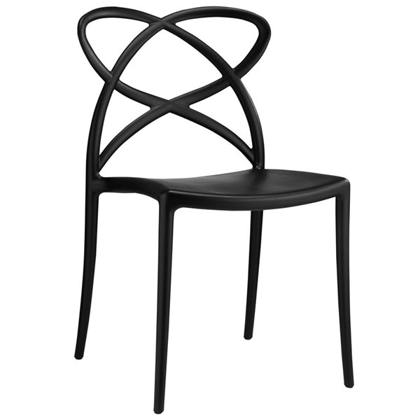 Enact Modern Black PP Solid Seat Dining Side Chair EEI-1492-BLK