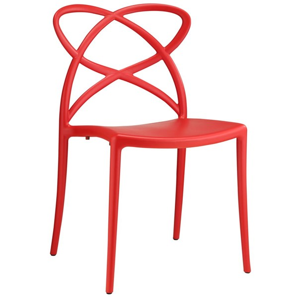 Enact Modern Red PP Solid Seat Dining Side Chair EEI-1492-RED