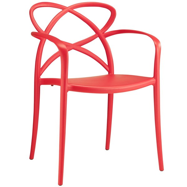 Enact Modern Red PP Solid Seat Dining Armchair EEI-1493-RED