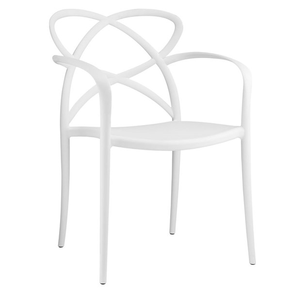 Enact Modern White PP Solid Seat Dining Armchair EEI-1493-WHI
