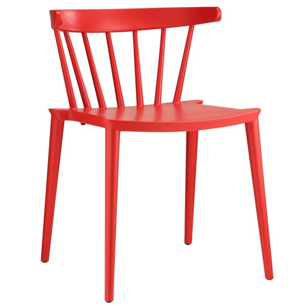 Spindle Modern Red PP Slat Back Dining Side Chair EEI-1494-RED