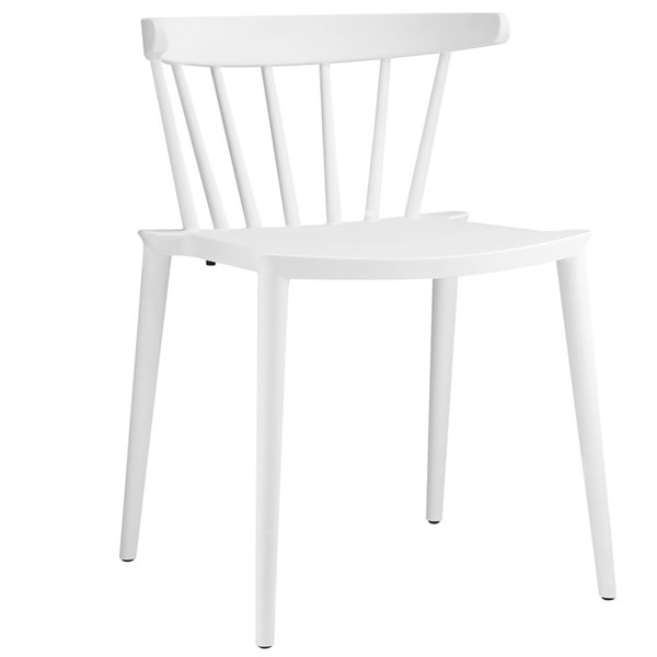 Spindle Modern White PP Slat Back Dining Side Chair EEI-1494-WHI