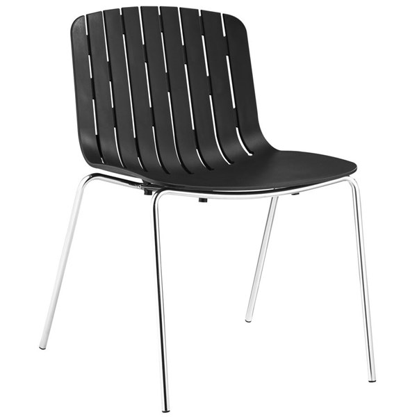 Trace Modern Black PP Plastic Steel Dining Side Chairs EEI-1495-DR-VAR