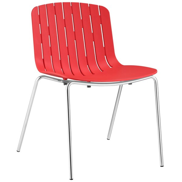 Trace Modern Red PP Plastic Steel Dining Side Chair EEI-1495-RED