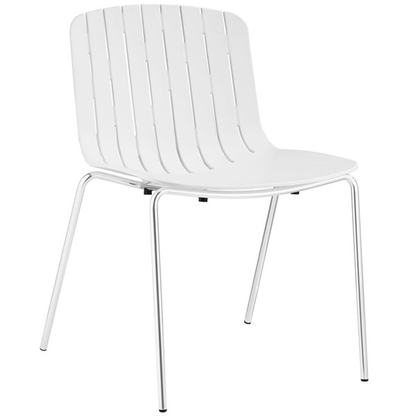 Trace Modern White PP Plastic Steel Dining Side Chair EEI-1495-WHI
