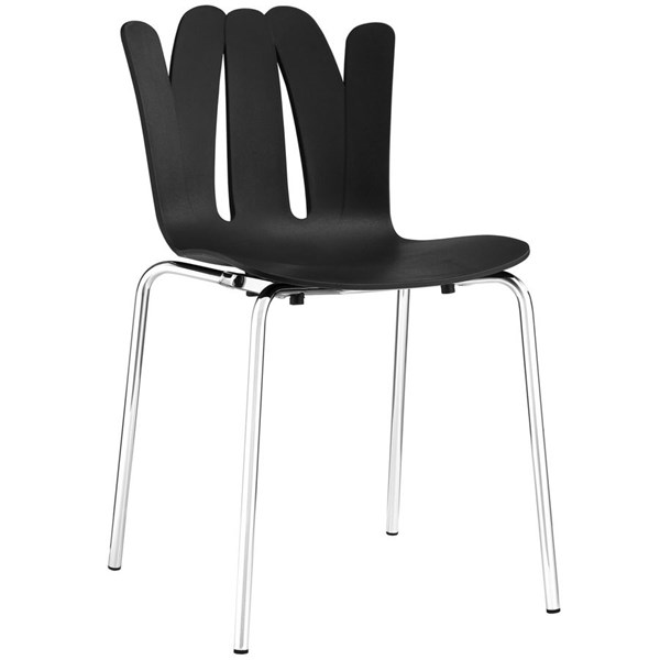 Flare Modern Black Steel Dining Side Chairs EEI-1496-DR-CH-VAR