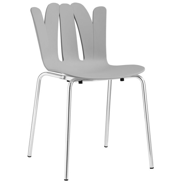 Flare Modern Gray Steel Dining Side Chair EEI-1496-GRY
