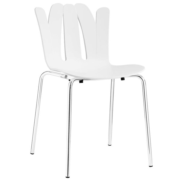 Flare Modern White Steel Dining Side Chair EEI-1496-WHI