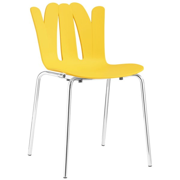 Flare Modern Yellow Steel Dining Side Chair EEI-1496-YLW
