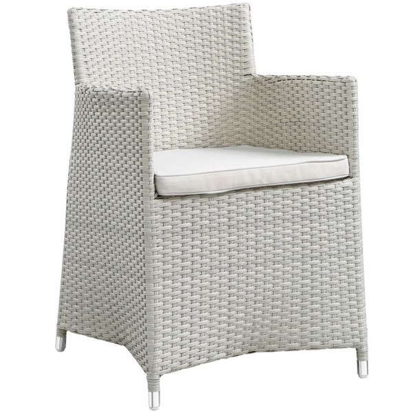 Junction Gray White Fabric Rattan Dining Outdoor Patio Armchair EEI-1505-GRY-WHI
