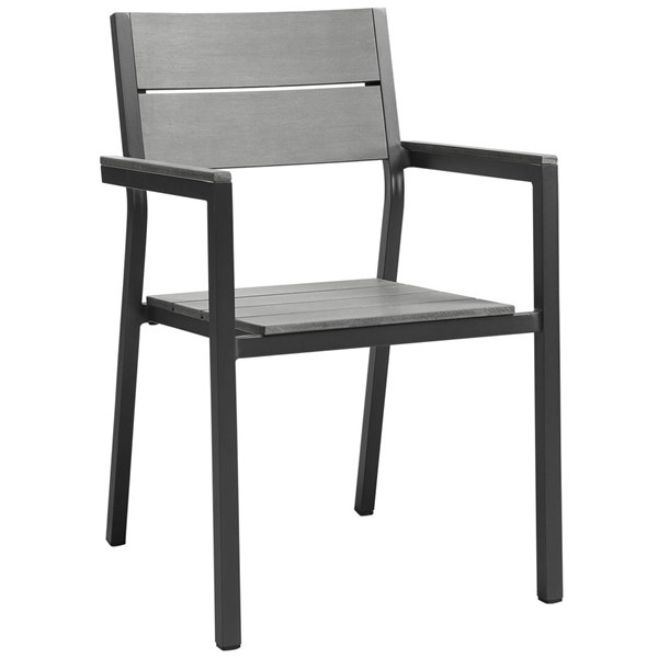 Maine Modern Brown Gray Wood Aluminum Outdoor Patio Dining Armchairs EEI-1506-OD-DC-VAR
